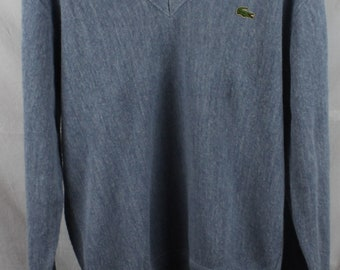 Vintage Lacoste Blue V-Neck Sweater Sz M