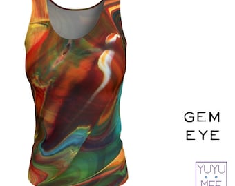 "Tank Top, Long, Women's, Yoga, Fitness, Multicolor, ""Gem Eye"""