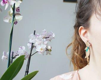 Cockatoo Parrot wooden earrings
