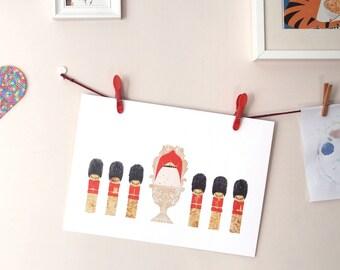 HM the Queen of Eggs print – illustrated art print, kitchen wall art, kids room art, nursery art