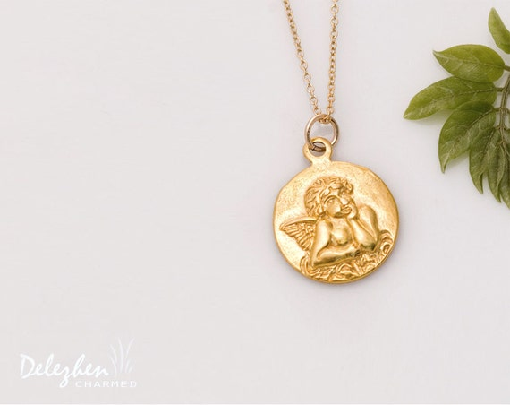Items similar to gold angel charm necklace guardian angel angel items similar to gold angel charm necklace guardian angel angel necklace christian jewelry angel charmcyber monday sale on etsy aloadofball Choice Image