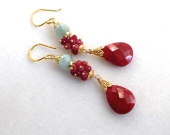 Extra Long Ruby, Aquamarine, 22kg Vermeil Embellished Drop Earrings...