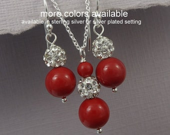 Red Coral Pearl Bridesmaid Jewelry Set, Red Wedding Jewelry Set, Red Bridesmaid Gift, Maid of Honor Gift, Red Bridal Party Jewelry Set