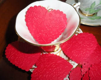 Victorian Red Lace Valentine Heart Die cuts Set of 10