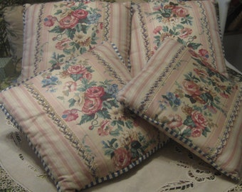 Set of Four Matching Shabby Chic Pillows