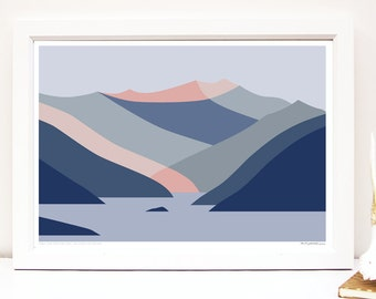 Treble Cone Ski Area viewed from Dublin Bay, Lake Wanaka, New Zealand Modern Abstract Mountain Art Print, Landscape Wall Art Poster