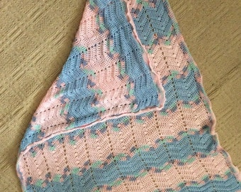 Hand crocheted Zigzag Afghan pink and blue