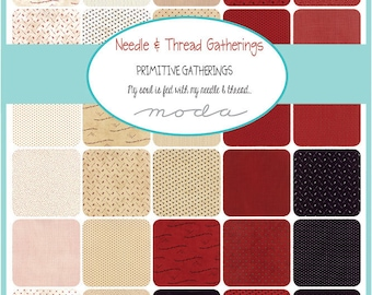 """Moda Needle & Thread Gatherings Precut 5"""" Charm Pack Fabric Quilting Cotton Squares 1230PP Primitive Gatherings SQ126"""