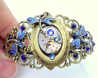 Steampunk Locket Bracelet,Dragonflies,Ruby Jeweled Watch Movement,Blue Swarovski Crystals,Neo Victorian,Vintage Style,Steam Punk Cuff,OOAK