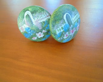 set of 2 HAND PAINTED wooden Knobs featuring design of a White Picket Fence with Archway and Flowers