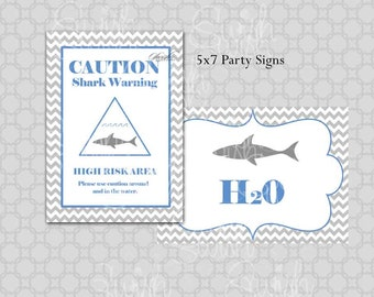 Shark Party Signs | Digital Party Signs | Birthday | Baby Shower | Party decorations | Chevron | Digital download | Instant download