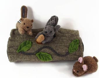 Hollow Log Animal Home, waldorf toy, all natural toy, eco friendly toy, stuffed toy, stuffed animal,