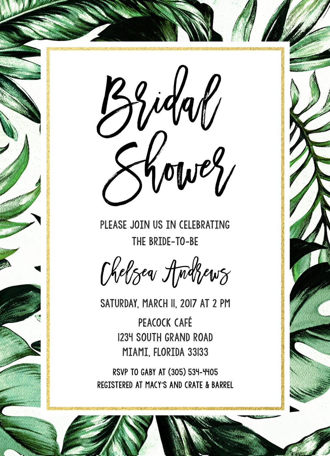 Tropical bridal shower invitation tropical invitation palm tree tropical bridal shower invitation tropical invitation palm tree leaf bridal shower invite tropical wedding printable wedding invitation filmwisefo Image collections