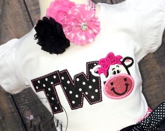 Moo Moo and TuTus Outfit | Cow Birthday Shirt | Two Year Old Birthday Shirt | Second Birthday Shirt | Two Year Old Birthday Outfit Girl