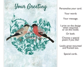 Handmade greeting card, Greetings card, blank card, valentine card , handmade card, anniversary card, wedding card , 'Finding your mate'