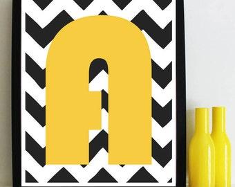Chevron Letter Giclée Print - Mustard, Turquoise.  Alphabet for nursery wall or children's room, Scandi Hygge fine art wall poster