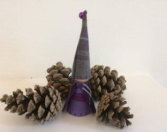 Highland Tartan Peg Doll Gnome