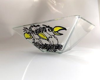Glass bowl, Vase for fruits, Glass vase, pattern handmade Square vase, Crows, Contour drawing, a serving Dish, Glass dish, Kitchen utensils