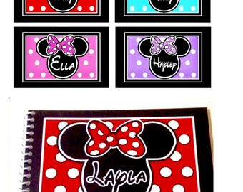 """Disney Autograph Book Personalized - Mickey or Minnie Mouse Designs - With and Without the Bow - Your choice - 4""""x6"""" Book"""
