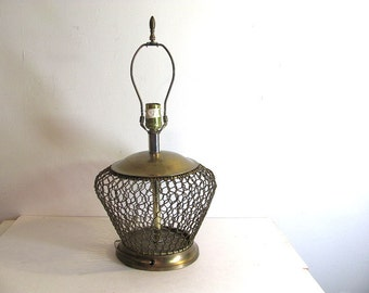 Vintage metal brass Cage Lamp