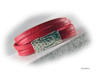Damen Lederarmband Nappa rot silber - Wickelarmband Nappaleder  - Verschluss gehämmert - Geschenk für Sie Schwester Freundin Mutter Ehefrau