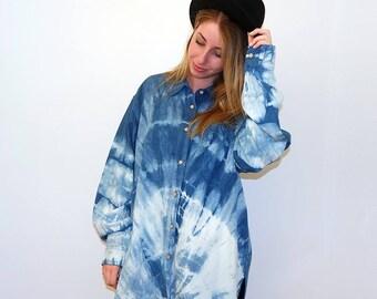 Upcycled Indigo dyed denim shirt