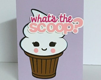 Happy Ice Cream Blank Card , Treat , Friends , Family , All Occasions , Papercut , Bright , Cheery , Scoop