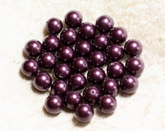 10pc - beads Pearl balls 8 mm purple Eggplant 4558550004116 C11 ref