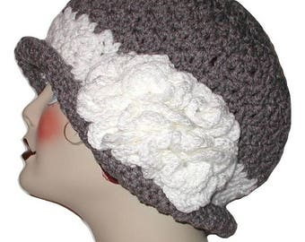 Charcoal Gray Flapper Hat, Gray And White Cloche, Gray And White Flapper, Gray Cloche With White Flower, Gray Flapper With White Flower