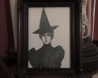 Little Victorian Witch- Original Drawing in Frame