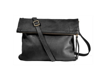 Black foldover leather purse, convertible clutch, crossbody and shoulder zippered  bag, black leather bag, convertible purse, flap purse,