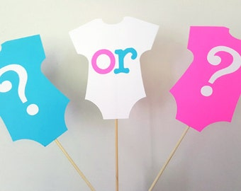 Gender Reveal Centerpiece Sticks - Onesie Gender Reveal Centerpiece