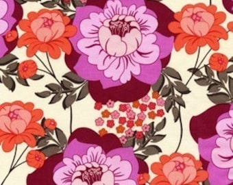 MEADOWSWEET 2 by Sandi Henderson, Splashy Rose in geranium, 1 yard