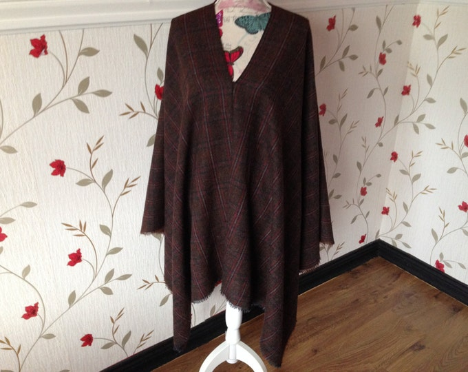 V-Neck Blanket Poncho - 100% Irish Tweed Woven locally. One size fits all even Large and Tall sizes
