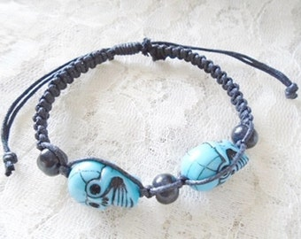 Double skull macrame bracelet, Girl bracelet, Boy bracelet, Available in two colors