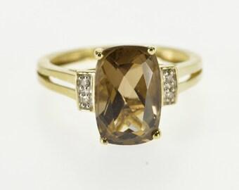 10k Cushion Smokey Quartz Diamond Accented Ring Gold