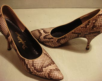 Vintage 1990s Brown Snake Pumps by Dolphen