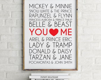 Printable Famous Disney Couples Print wall art custom names, wedding anniversary printable decor typography, subway art