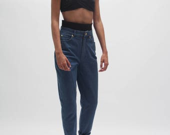 ESCADA Margaretha Ley 80/90s stretch jeans - high waist - high rise tapered jeans - mom jeans - medium blue - S to M -made in italy