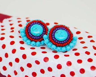 Red and turquoise stud earrings, gift idea for her
