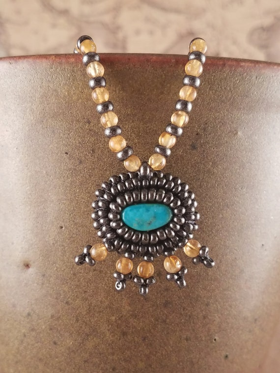 Yellow Citrine and Natural Blue Turquoise Pendant on a Beaded Neclace
