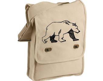 Brown Bear Bag, Bear Canvas Bag, Bear Messenger Bag, Party Bear Screen-printed Canvas Field Bag Black Bear, Tan Purse, Cross Body Tote Bag