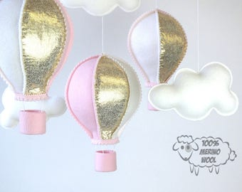 Baby Mobile, Hot Air Balloon Mobile, Baby Girl Mobile, Gold and Pink Mobile,  Nursery Decor