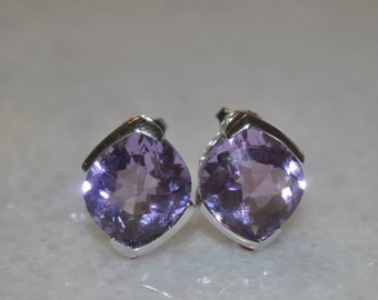 Genuine Purple Amethyst and Sterling Silver Stud Earrings for Women