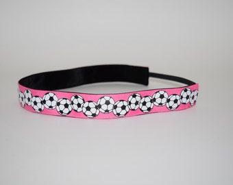Pink Soccer Headband- Pink Soccer 7/8 inch headband- no slip headband- soccer Headband- Soccer Ball