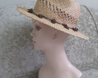 Hippie/Boho Summer Straw Hat Appleseed Band/Ipil Ipil Seeds Circa 1970s  #18064