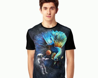 Betta in Space Graphic T-shirt Shirt Casual Summer Surreal T Clothes astronaut fighting fish
