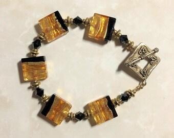 Murano Tri-color Gold-Filled Bracelet
