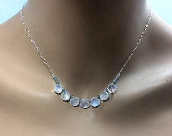 Rainbow Moonstone and Blue Zircon Necklace in Sterling Silver