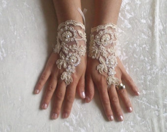 cappuccino Wedding gloves beaded pearl   bridal gloves  fingerless lace  gloves  cappuccino gloves french